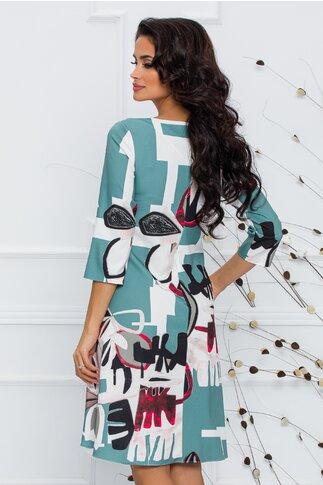 Rochie Calipso verde mint cu imprimeu abstract