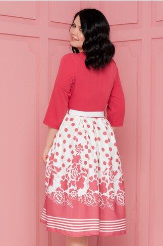 Rochie Callie roz cognac cu imprimeu divers