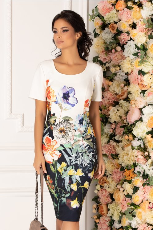 Rochie Camea alba cu imprimeu floral multicolor