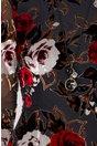Rochie Camea neagra cu imprimeu floral dramatic din catifea