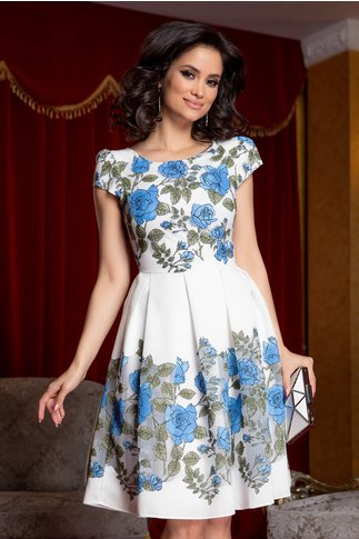 Rochie Camelia alba cu imprimeu floral albastru