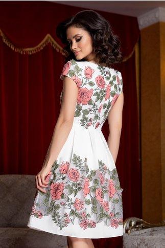 Rochie Camelia alba cu imprimeu floral roz