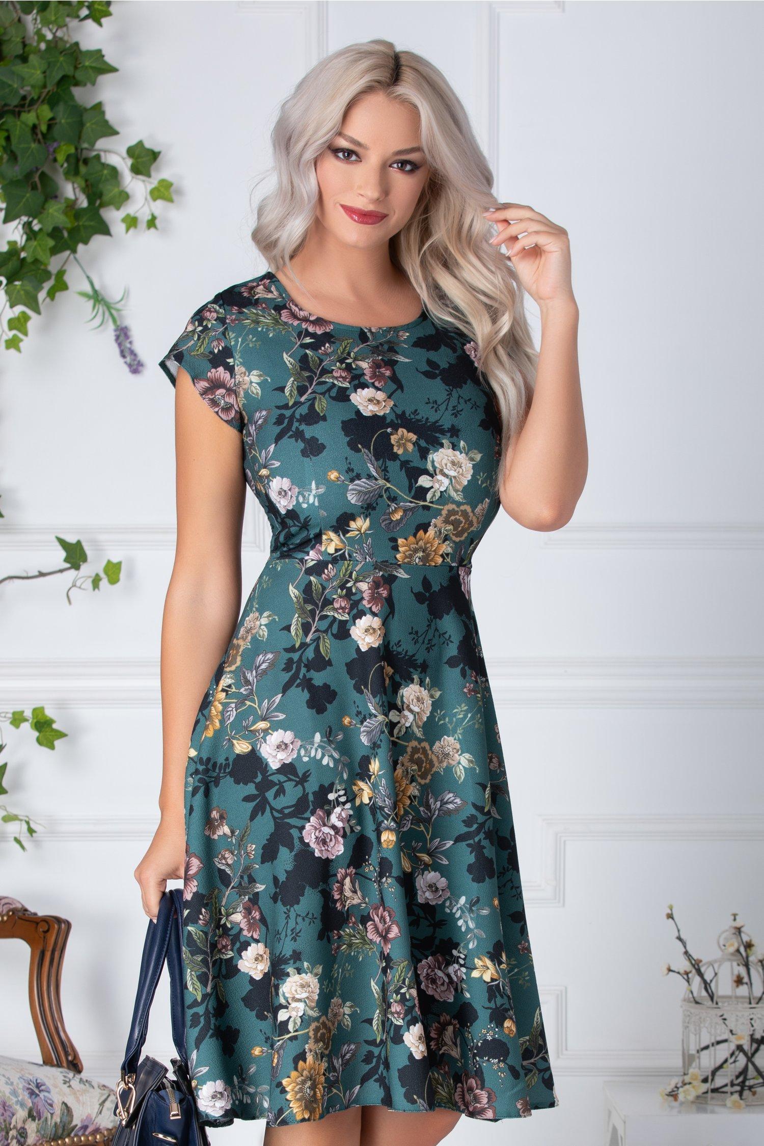 Rochie Camelia clos verde cu imprimeu floral crem