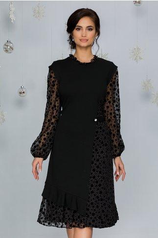Rochie Camelia neagra cu buline si insertii catifelate