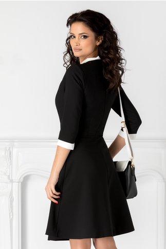 Rochie Camelia neagra cu funda la guler