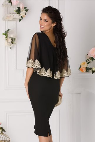 Rochie Cameron neagra cu volan din tull si broderie aurie