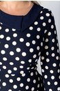 Rochie Camilla bleumarin cu buline albe