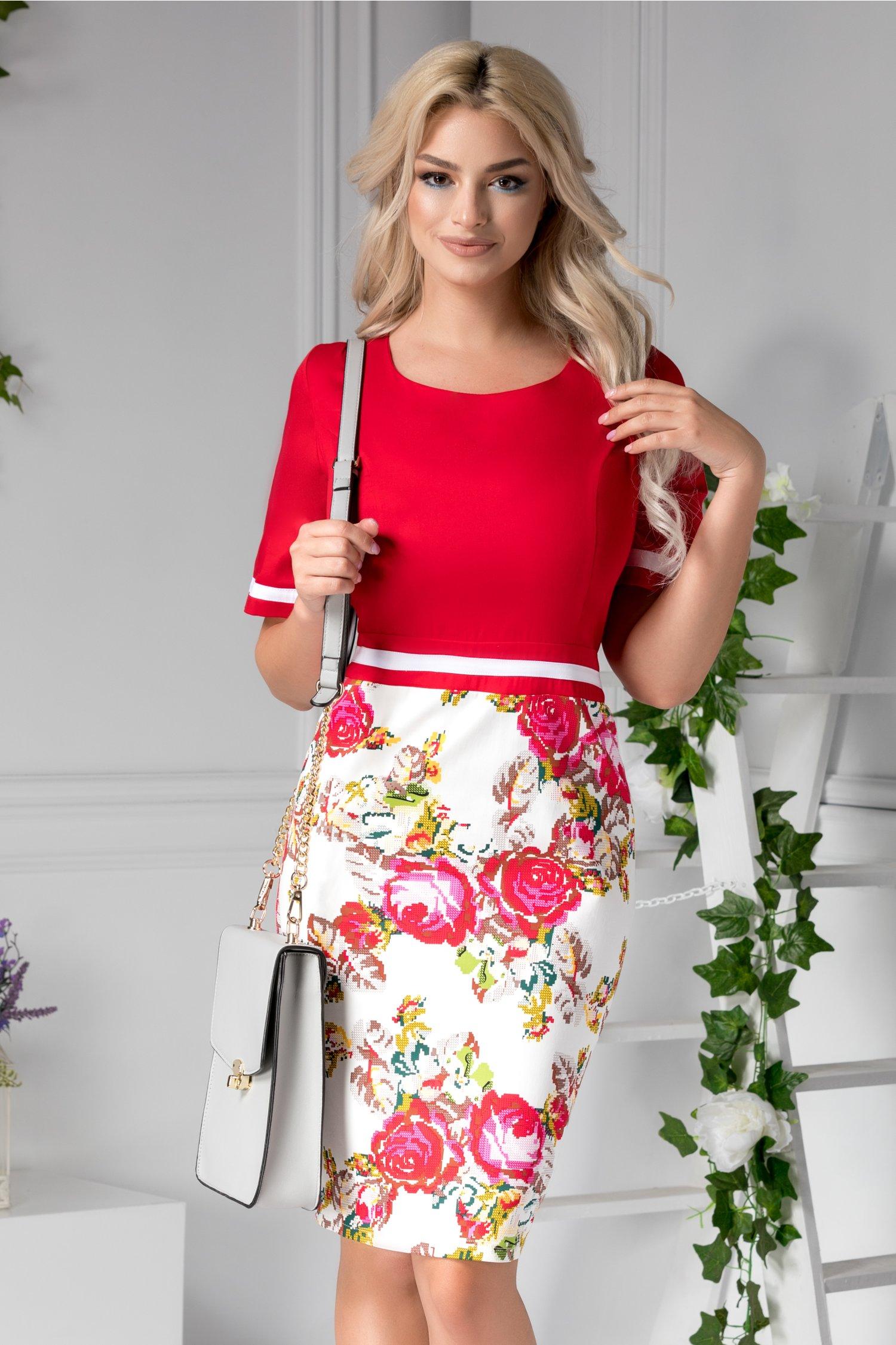 Rochie Camilla rosie cu imprimeu floral traditional