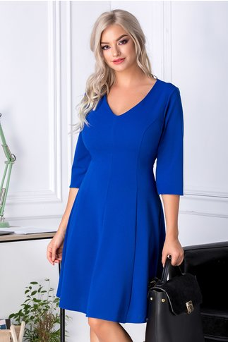 Rochie Camille office albastru  cu manecute