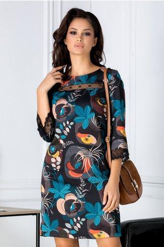 Rochie Camy neagra cu imprimeu floral
