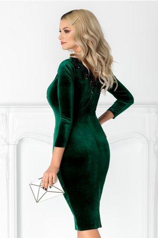 Rochie Camy verde din catifea cu franjuri din paiete la decolteu
