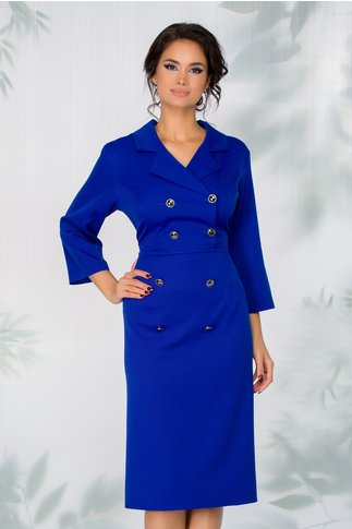 Rochie Candace albastra cu nasturi cenusii