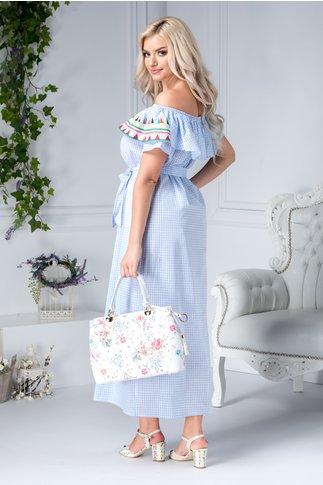 Rochie Cara lunga din bumbac imprimat cu patratele bleu