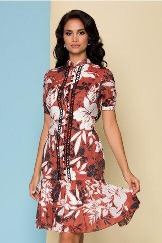 Rochie caramizie cu imprimeu floral si broderie la bust
