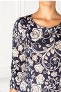 Rochie Cari conica bleumarin cu imprimeu floral