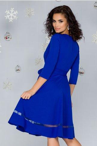 Rochie Carina albastra cu aplicatii din broderie florala, strasuri si perlute