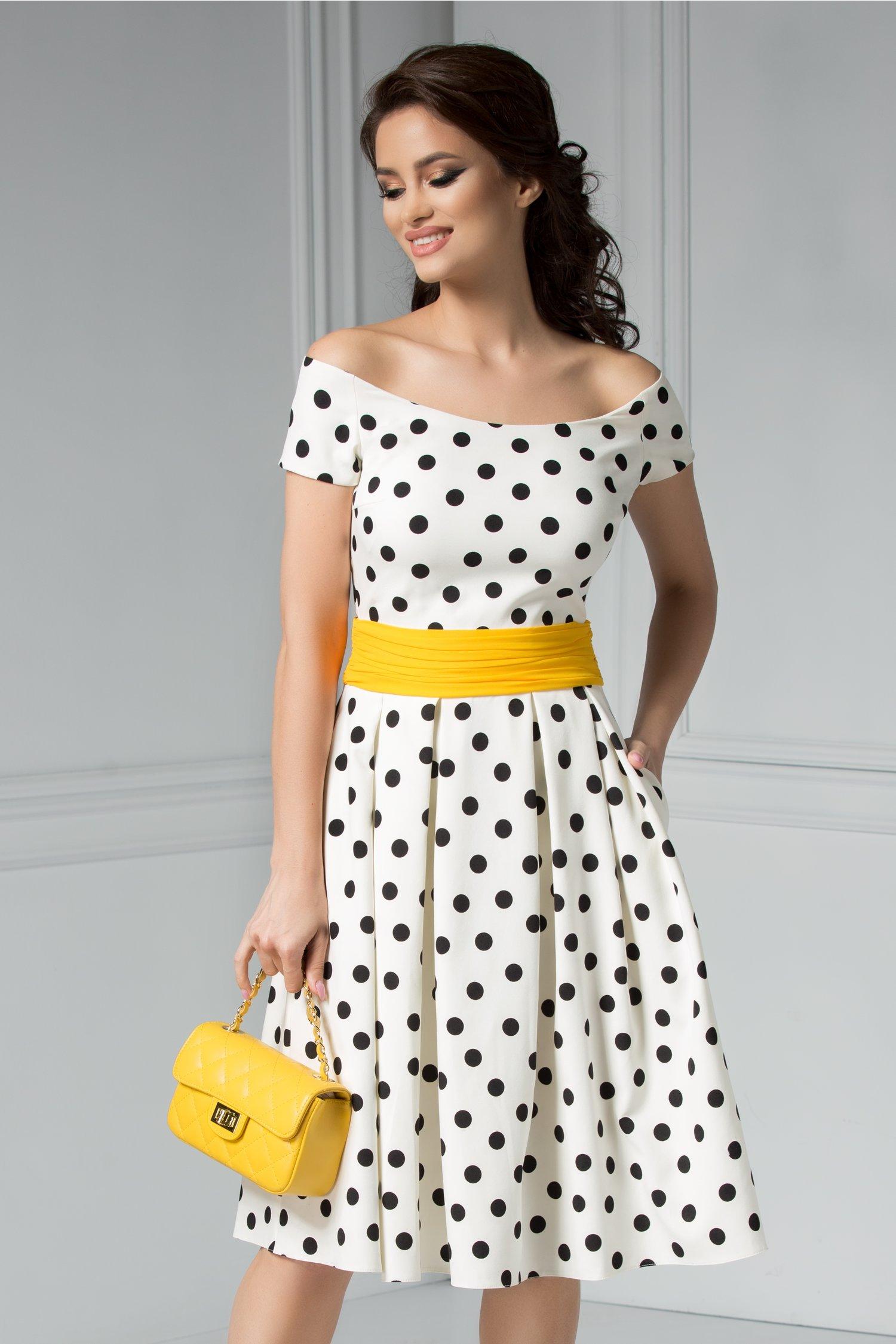 Rochie Carine alba cu buline albe negre