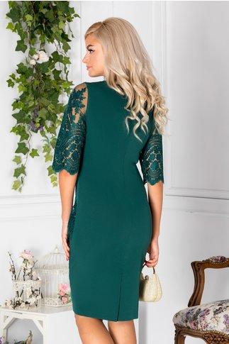 Rochie Carisa verde din dantela de ocazie