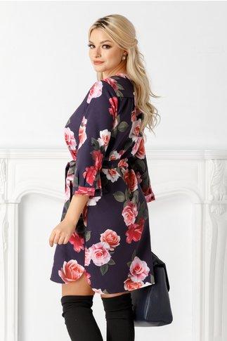 Rochie Carla tip camasa bleumarin cu trandafiri roz