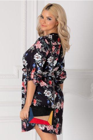 Rochie Carla tip camasa neagra cu imprimeu floral rosu-albastru