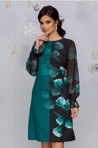 Rochie Carla verde petrol cu negru si imprimeu floral in degrade