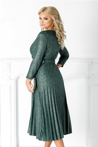 Rochie Carla verde plisata cu decolteu petrecut