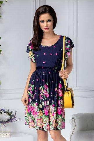 Rochie Carmen bleumarin cu floricele roz