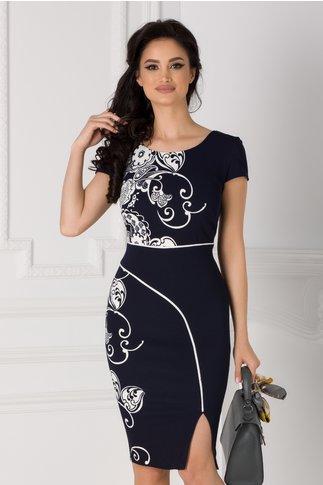 Rochie Carmen bleumarin cu imprimeu floral alb si dunga alba