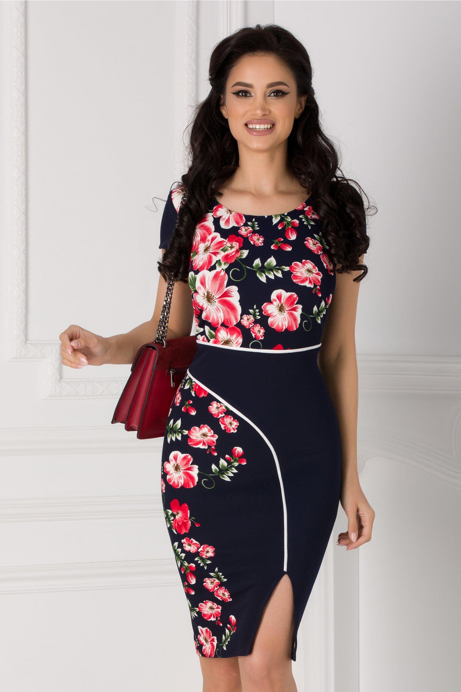 Rochie Carmen bleumarin cu imprimeu floral roz si dunga alba