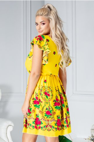 Rochie Carmen galbena cu imprimeu floral
