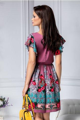 Rochie Carmen mov cu imprimeu floral