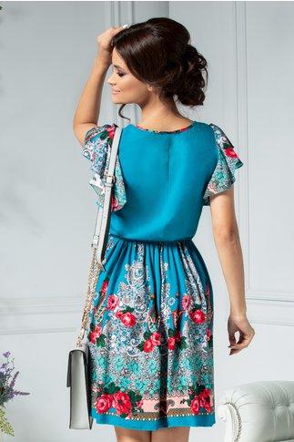 Rochie Carmen turcoaz cu imprimeu floral