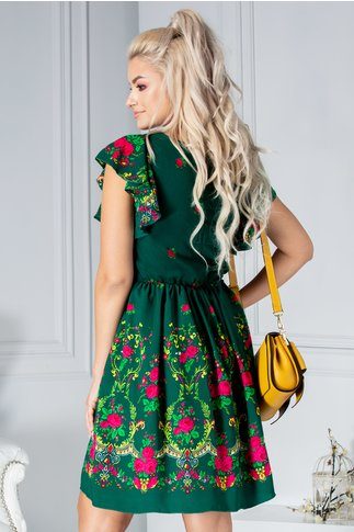 Rochie Carmen verde cu imprimeu floral