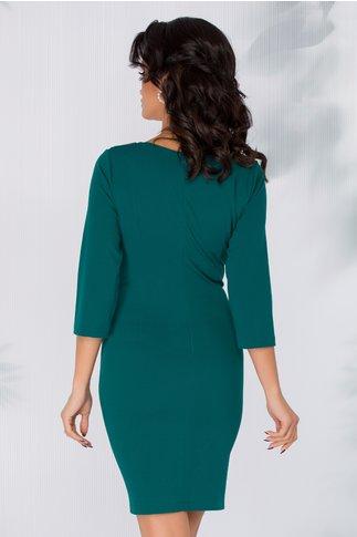 Rochie Carmina verde inchis cu accesoriu tip catarama