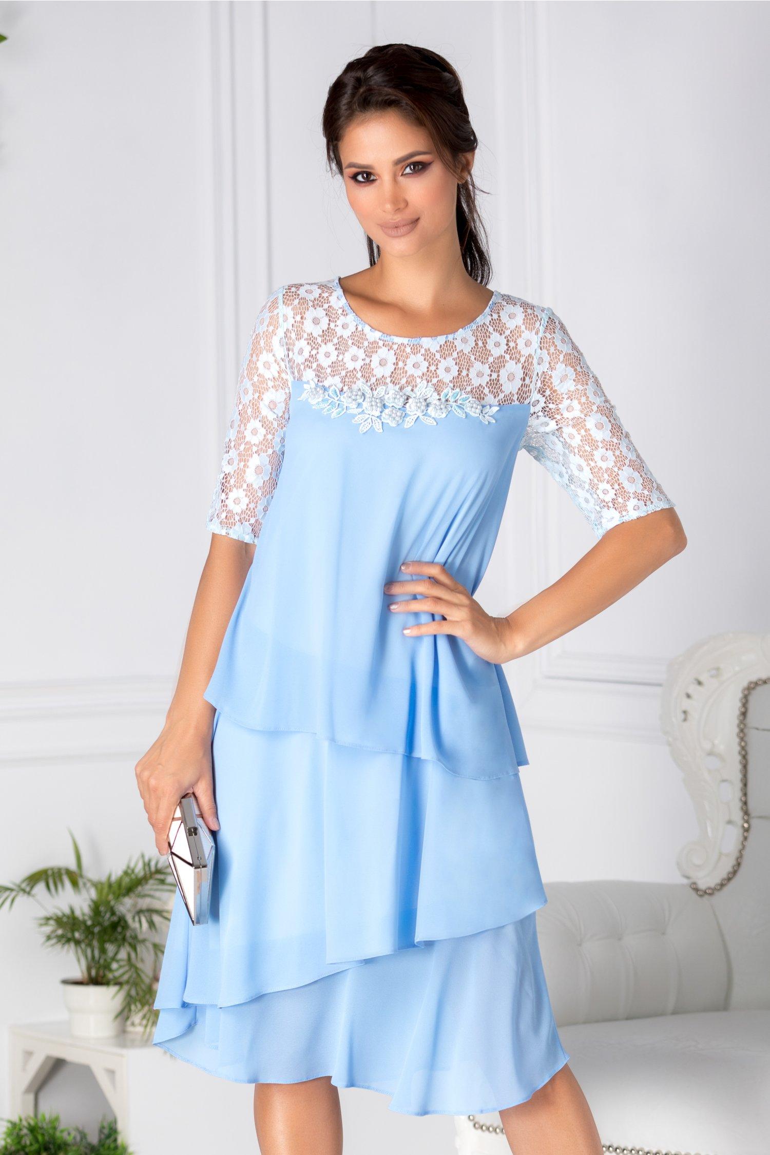 Rochie Carolina bleu cu volanase si broderie cu perle la bust