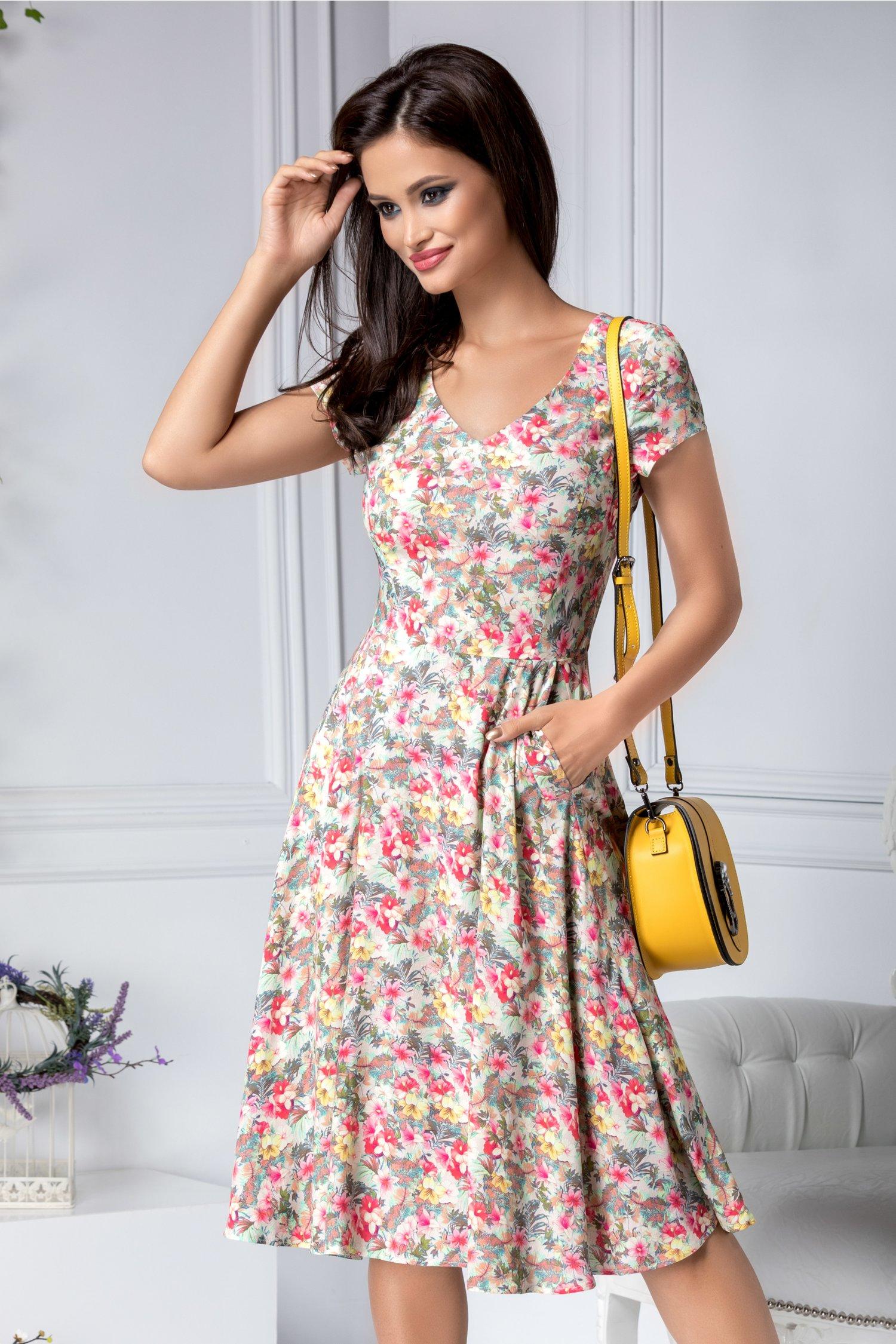 Rochie Carolina cu imprimeu floral multicolor