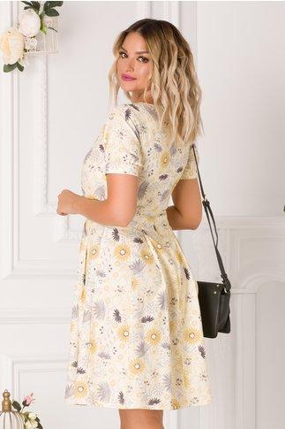 Rochie Carolina galben pal cu imprimeu floral