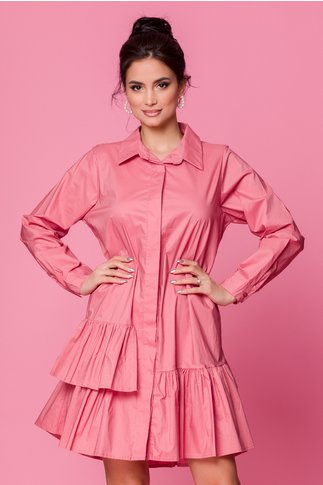 Rochie Carolina roz prafuit cu volanase