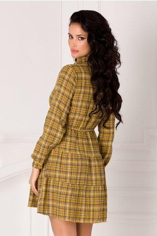 Rochie Carolina tip camasa galben mustar cu carouri