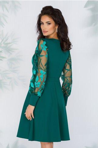 Rochie Carolina verde cu broderie florala in nuante viu colorate