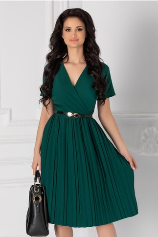 Rochie Carolina verde cu fusta plisata