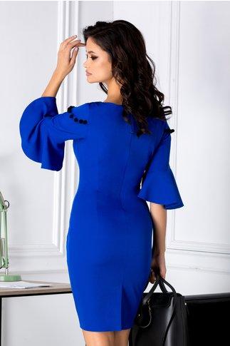 Rochie Caroline albastra cu ciucurei