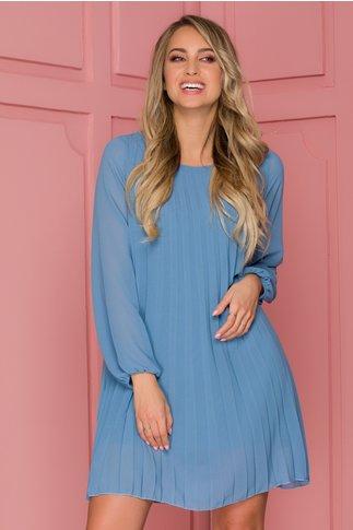 Rochie Caroline bleu din voal plisat