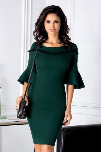 Rochie Caroline verde cu ciucurei