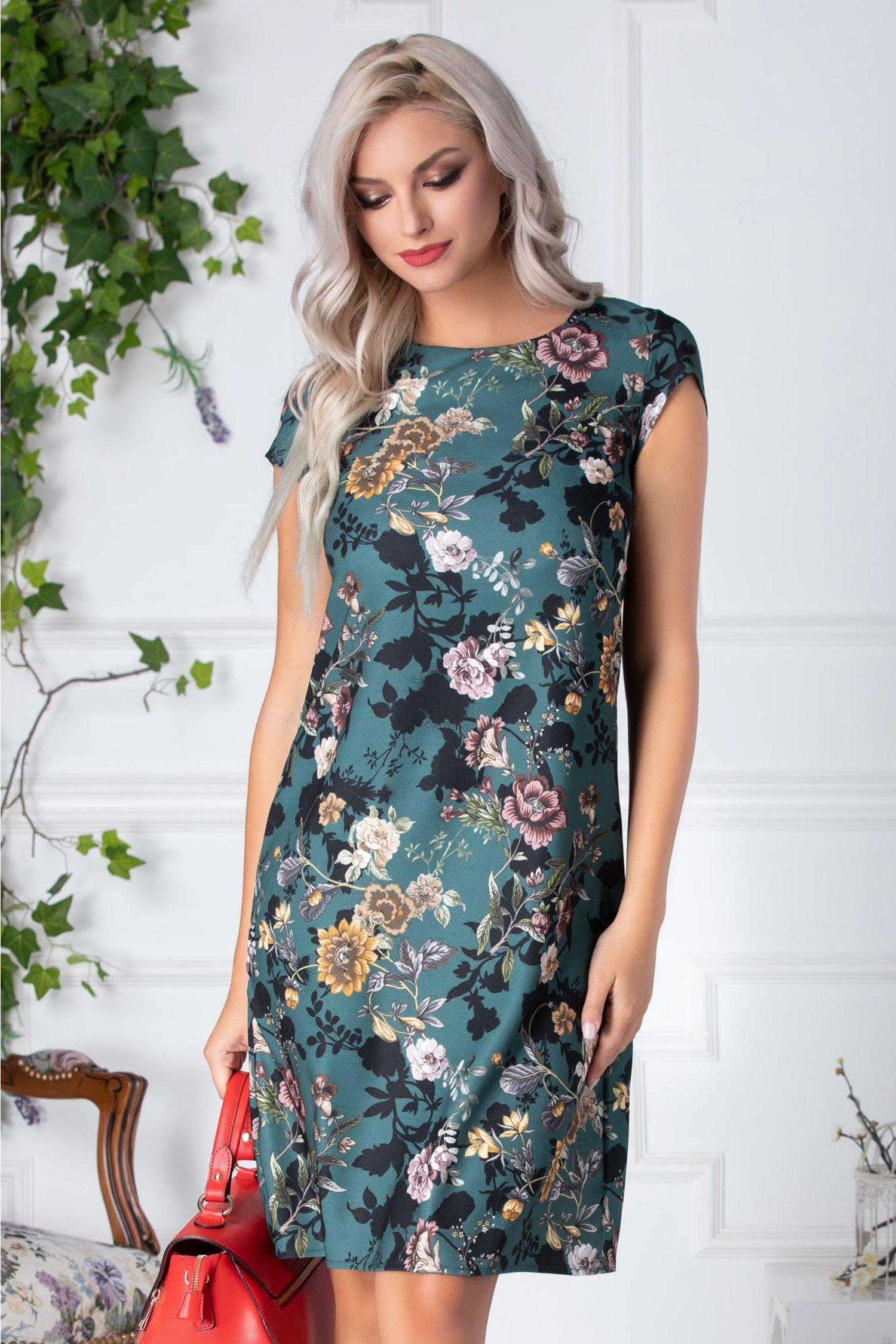 Rochie Carry tip A verde cu flori crem