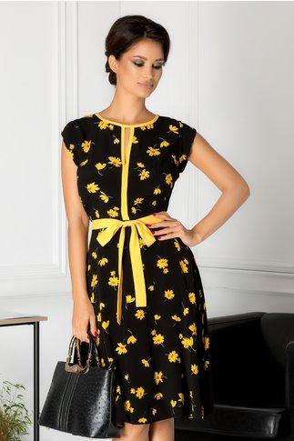 Rochie Cary neagra cu floricele galbene