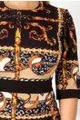 Rochie Caryna neagra cu imprimeu divers galben