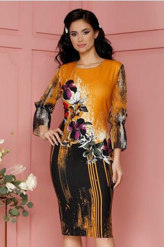 Rochie Casandra galben mustar cu flori colorate si strasuri
