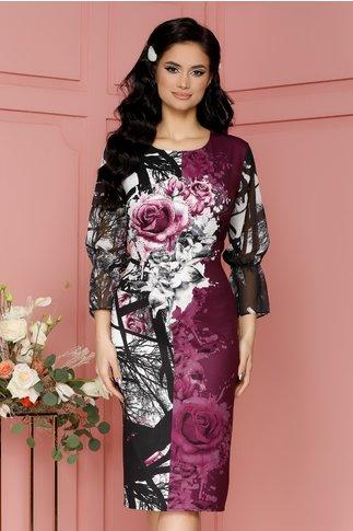 Rochie Casandra mov cu imprimeuri florale si strasuri