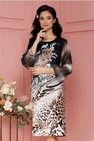 Rochie Casandra neagra cu flori si animal print